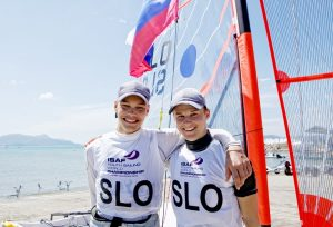 Gold Medal 29er Men Slovenia 29er Men Crew SLOAP1 Anze Podlogar Slovenia 29er Men Helm SLOPJ1 Peter Janezic Day6, Final Day, 2015 Youth Sailing World Championships, Langkawi, Malaysia